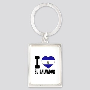 I Love El Salvador Portrait Keychain
