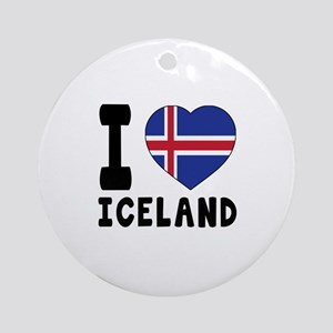 I Love Iceland Round Ornament