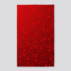 red stars in red Area Rug