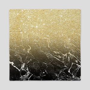 Modern girly luxurious faux gold glitt Queen Duvet