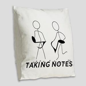 TAKING NOTES - MUSIC Burlap Throw Pillow
