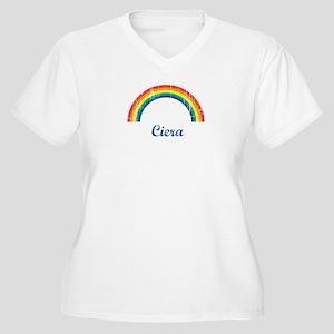 Ciera vintage rainbow Women's Plus Size V-Neck T-S