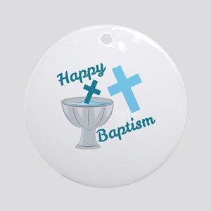 Happy Baptism Round Ornament