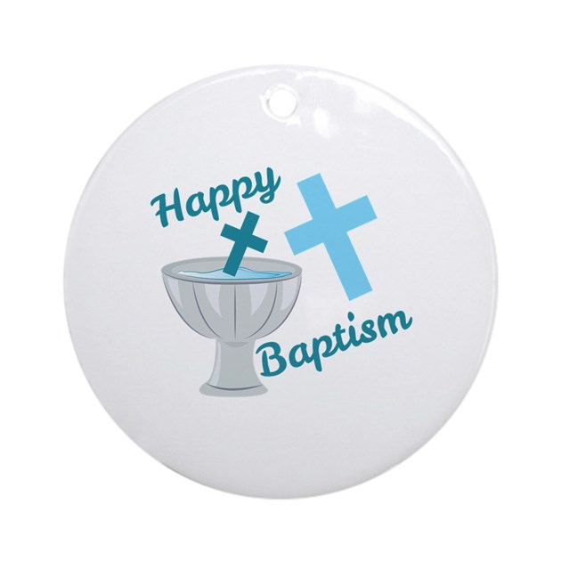 Baptism Ornament Round Glass: Happy Baptism Round Ornament By Windmill50