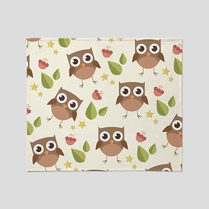 Retro Owl Pattern Throw Blanket