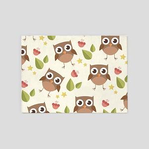Retro Owl Pattern 5'x7'Area Rug