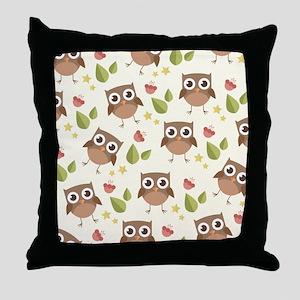 Retro Owl Pattern Throw Pillow