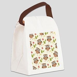 Retro Owl Pattern Canvas Lunch Bag