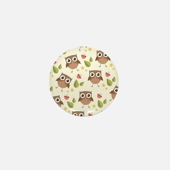 Retro Owl Pattern Mini Button
