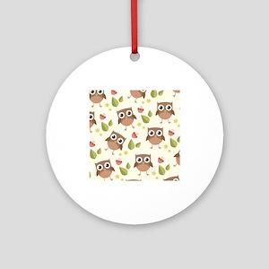 Retro Owl Pattern Round Ornament