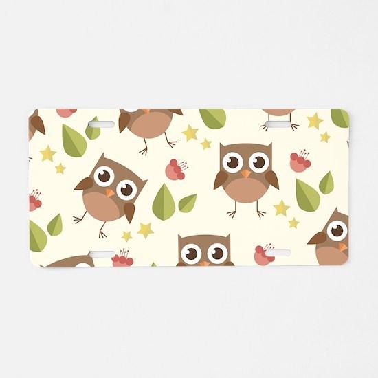 Retro Owl Pattern Aluminum License Plate