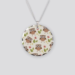 Retro Owl Pattern Necklace Circle Charm