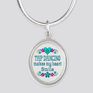 Tap Dancing Smiles Silver Oval Necklace