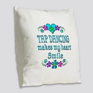 Tap Dancing Smiles Burlap Throw Pillow