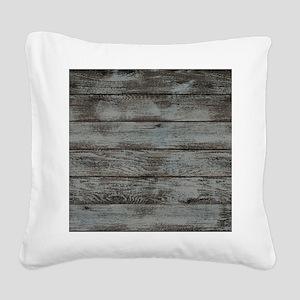 black white barn wood Square Canvas Pillow