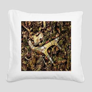 rustic deer antler camo  Square Canvas Pillow