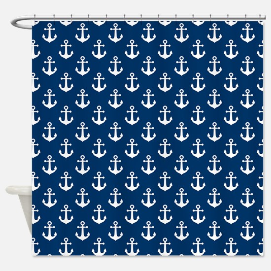 White Anchors Navy Blue Background Shower Curtain