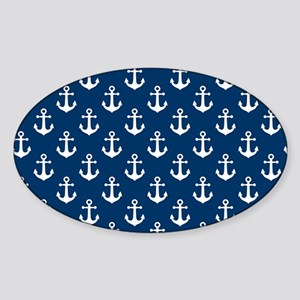 White Anchors Navy Blue Background Sticker (Oval)