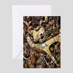 rustic deer antler camo Greeting Cards
