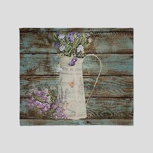 rustic lavender western country  Throw Blanket