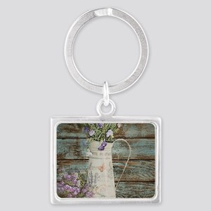 rustic lavender western country Landscape Keychain