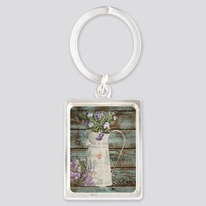rustic lavender western country  Portrait Keychain