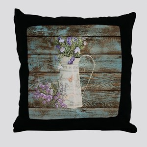 rustic lavender western country  Throw Pillow