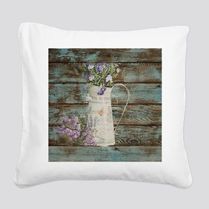 rustic lavender western count Square Canvas Pillow