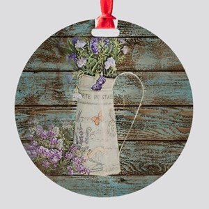 rustic lavender western country  Round Ornament