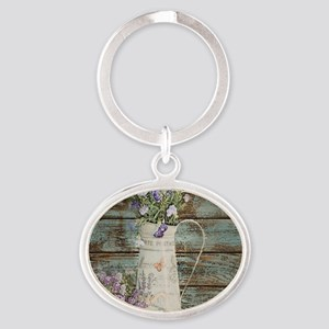 rustic lavender western country  Oval Keychain