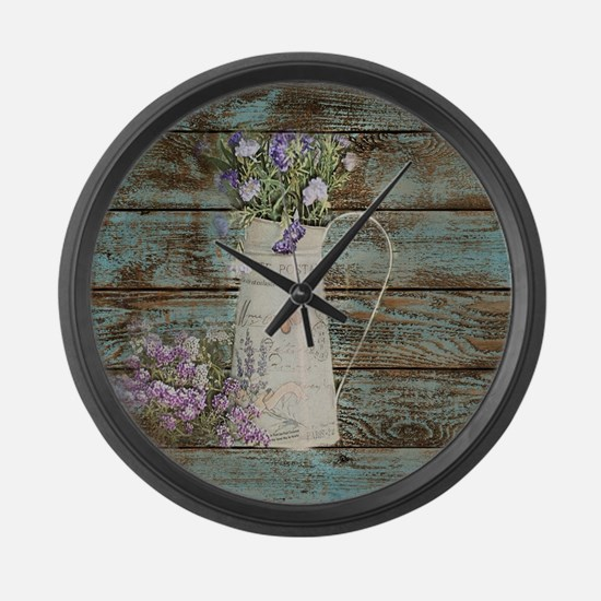 rustic lavender western country  Large Wall Clock
