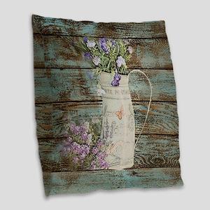 rustic lavender western countr Burlap Throw Pillow