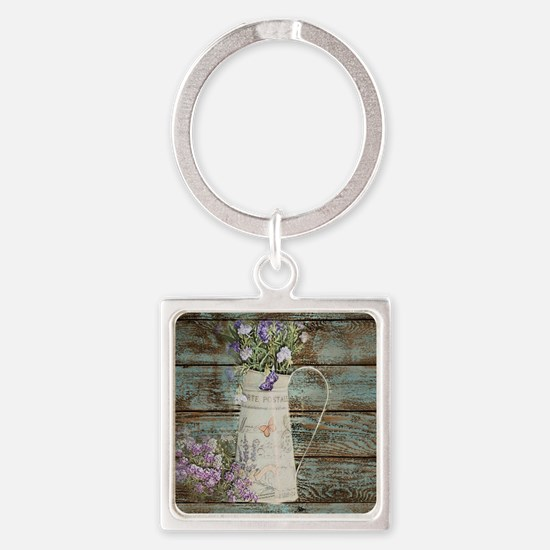 rustic lavender western country  Square Keychain