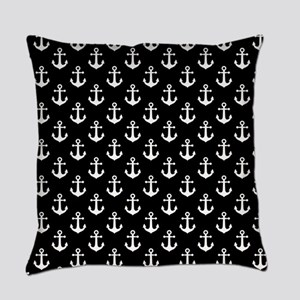 White Anchors Black Background Pat Everyday Pillow