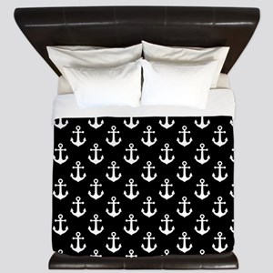 White Anchors Black Background Pattern King Duvet