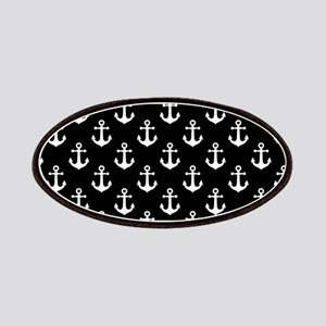 White Anchors Black Background Pattern Patch