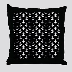 White Anchors Black Background Patter Throw Pillow