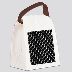 White Anchors Black Background Pa Canvas Lunch Bag