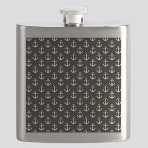 White Anchors Black Background Pattern Flask