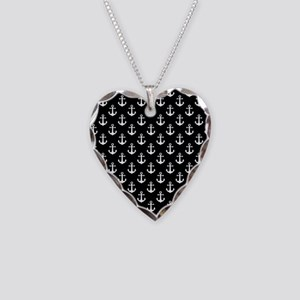 White Anchors Black Backgroun Necklace Heart Charm