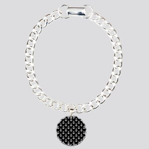 White Anchors Black Back Charm Bracelet, One Charm