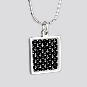 White Anchors Black Backgr Silver Square Necklace
