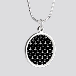 White Anchors Black Backgrou Silver Round Necklace