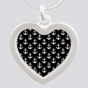 White Anchors Black Backgrou Silver Heart Necklace