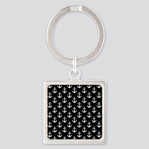 White Anchors Black Background Pat Square Keychain