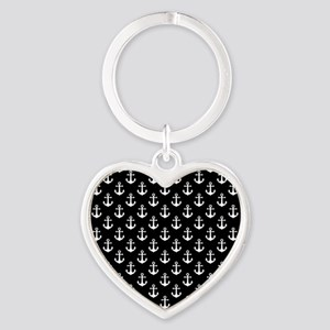 White Anchors Black Background Patt Heart Keychain