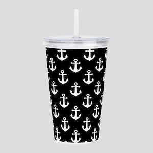 White Anchors Black Ba Acrylic Double-wall Tumbler