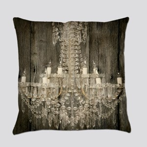 shabby chic rustic chandelier Everyday Pillow