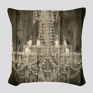 shabby chic rustic chandelier Woven Throw Pillow