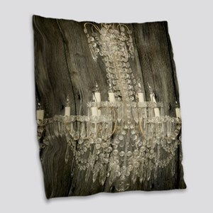shabby chic rustic chandelier Burlap Throw Pillow